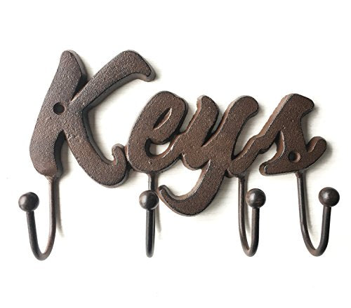 Chic Elements Design Cast Iron Decorative Key Holder - Cast Iron Wall Mount Decorative Keys Rack in Antique Brown Color - Vintage Metal Key Hooks Organizer - Screws and Anchors - 8x5.5 - Special