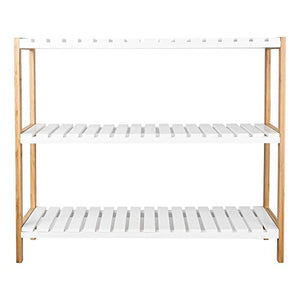 TopHomer 3 Tiers Bamboo Shoe Rack Bench Stand Shelves Organization Holder Bathroom Shelf Unit White Natural Hallway Entryway
