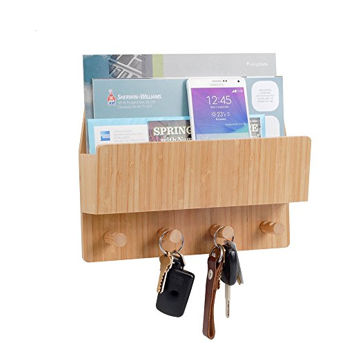 MobileVision Bamboo Mail & Letter Wall Mount Organizer with Key Hooks for Entryways, Hallways, Offices, Kitchens and More