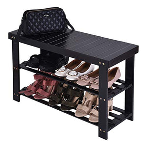 Micozy 3-Tier Bamboo Shoe Rack Bench Shoe Organizer Max Holds Up to 260 lb Multi-Function Storage Shelf for Entryway Hallway Bathroom Living Room Corridor and Garden Black 28 x 11 x 8
