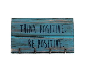 "Small Keychain Holder Decorative Rack. Rustic Turquoise/Aqua Colored""Think Positive. Be Postive."" Sign Wall Art. Handmade in U.S.A. Repurposed Materials!"