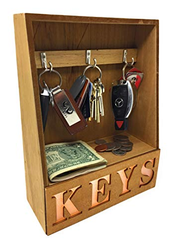 Light Up LED Key Organizer - Desktop Tabletop Key Holder Keys Hanger 3 Hooks Rack with Small Shelf for Coins Currency - for Home Decor Entryway Credenza - Wood Construction -Looks Good Lighted or Not