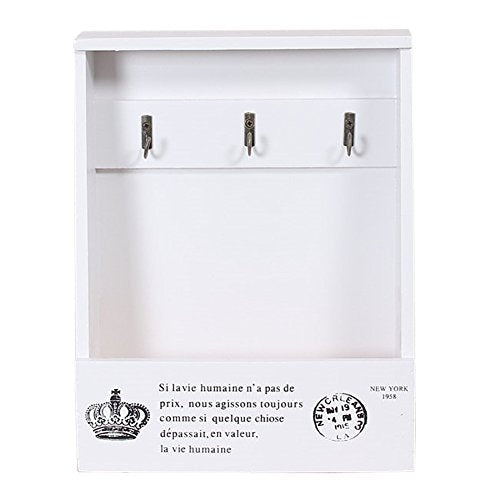 Olpchee Retro Wooden Wall Mounted & Tabletop Key Holder Rack Organizer Letter Mail Holder with 3 Key Hooks for Entryway Kitchen Office (White)