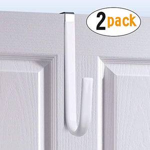 Over the Door Hook White -Surface Rubber Protection Door Paint Design,Single Over Door Hook for Bathroom,Kitchen,Bedroom,Cubicle,Shower Room Hanging Towel,Clothes,Pants,Shoe Bag,Coat (2pack)