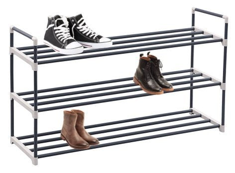 3-Tier shoe rack organizer storage bench stand for mens womens shoes closet with iron shelves that holds 15 pairs. Hot black shoe racks with three tiers metal shelf & easy assembly with no tools.
