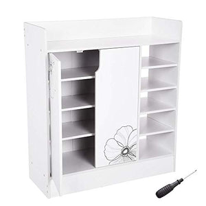 "Yescom 31.5""x12""x35"" Shoes Cabinet 2-Door 18 Pairs Storage Organizer Removable Shelves Home Entryway Hallway White"