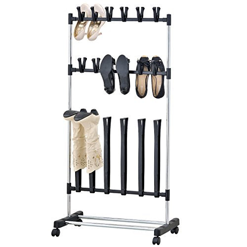 MyGift Rolling 9-Pair Shoe Boot Rack, Space Saving Storage Organizer, Black and Chrome