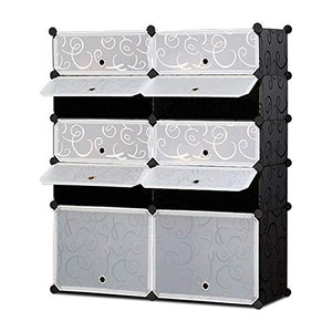 NEX Shoe Rack Cube Organizer DIY Plastic Storage Organizer Modular Cabinet Black Closet with White Doors (NX-EAT0127)
