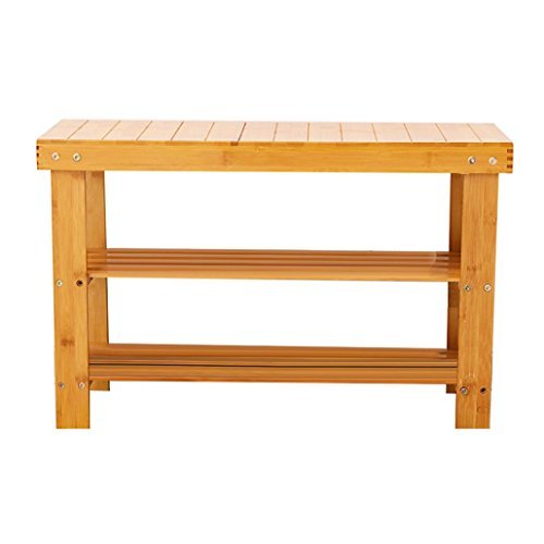 Hmlai 2-Tier 100% Natural Bamboo Wood Shoe Rack Bench, Shoe Organizer,Storage Shelf Ideal for Entryway Hallway Bathroom Living Room and Corridor