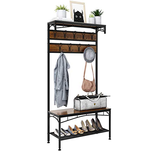 3-in-1 Entryway Coat Rack, Rackaphile Vintage Metal and Wood Hall Tree with Storage Bench Shoe Rack Entryway Storage Shelf Organizer with 18 Hooks