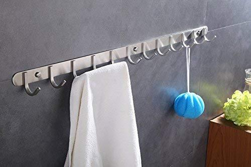 Hook/Coat Rack with 12 Square Hooks- Modern Wall Mounted - Ultra Durable with Solid Steel Construction, Brushed Stainless Steel Finish, Super Easy Installation, Rust and Water Proof.