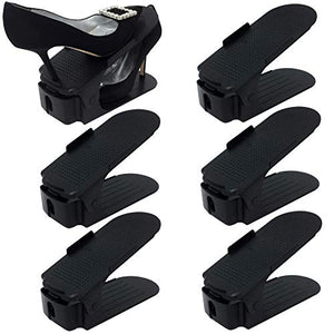 Organize Joy Shoe Slots - Shoe Organizer for Closet, Set of 6 Shoe Rack Space Savers, Black Plastic