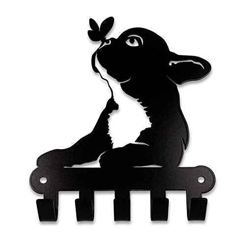 Pet Deco Key Holder for Wall, Kitchen or Entryway | Easy Wall Mount 5 Hooks Key Rack Organizer for Home or Office | Featuring French Bulldog and a Butterfly | Decorative Holder for Keys, Dog Leash's
