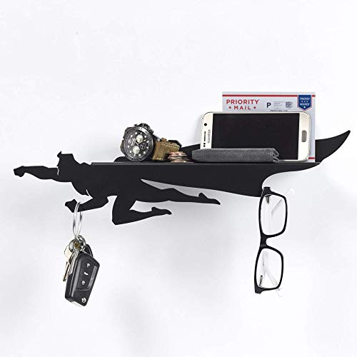 Artori Design heroshelf | Keys and Mail Holder Black Metal Superhero Floating Shelf | Wall Mounted Rack | Home Entrance Shelf for Small Stuff | House Warming Gift for Geeks | Door Organizer