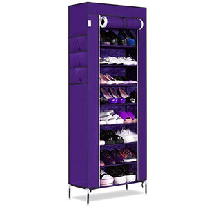 KELAND 10-Tier Standing Tall Large Capacity Shoes Storage Organizer,Portable Shoe Rack with Dustproof Fabric Cover(US Stock) (Purple)