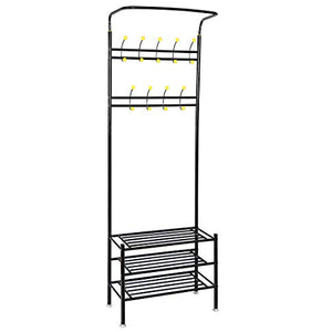SUPER DEAL 3N1 Metal Hall Tree 18 Hooks Entryway Coat Clothes Racks + 3-Tier Shoe Rack Bench + Hat Scarf Bag Rack + Umbrella Stands Storage Shelf All in One