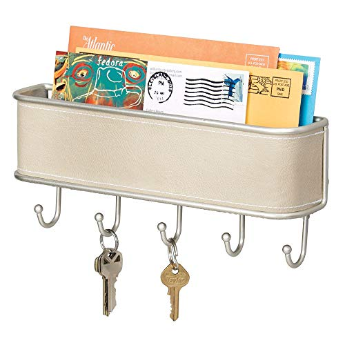 mDesign Wall Mount Metal Mail Organizer Storage Basket - 5 Hooks - for Entryway, Mudroom, Hallway, Kitchen, Office - Holds Letters, Magazines, Coats, Keys - Satin/Taupe Leather