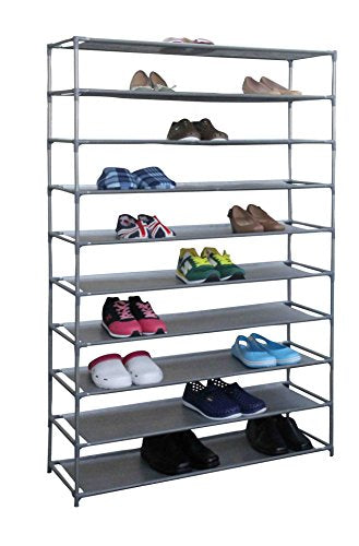 Home Basics Multipurpose Free Standing 10-Tier 50 Pair Shoe Tower Storage Closet Rack Shelf for Shoes Handbags Etc. (10-Tier Wide)