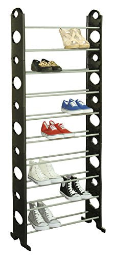 Sunbeam 30 Pair Shoe Rack Holder Organizer, Black