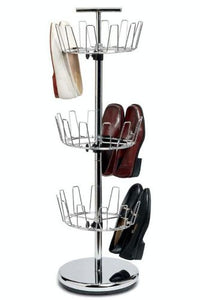 Household Essentials Three-Tier Adjustable Revolving Shoe Rack