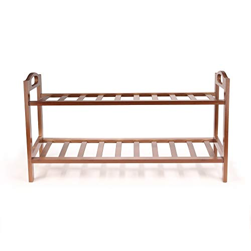 BambooMN 2-Tier Bamboo Wood Shoe Rack, for Entryway or Doorway - Brown Finish - Single Rack