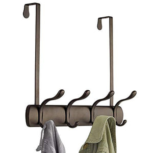 mDesign Decorative Over Door 8 Hook Metal Storage - Long Easy Reach Organizer Rack for Jackets, Coats, Hoodies, Hats, Scarves, Purses, Leashes, Bath Towels, Robes, Men, Womens Clothing - Bronze