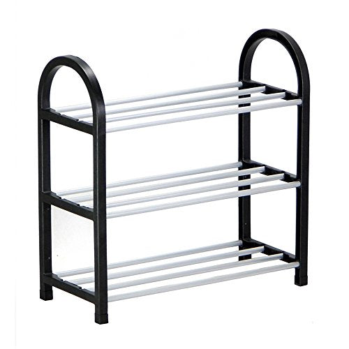 LEHUO HOME 3 Tier Entryway Shoe Rack/Shoe Storage Organizer/Plastic Steel Tube Assembled Shelves - Hold 6 Pairs of Shoes - 16.54 x 7.87 x 16.54''