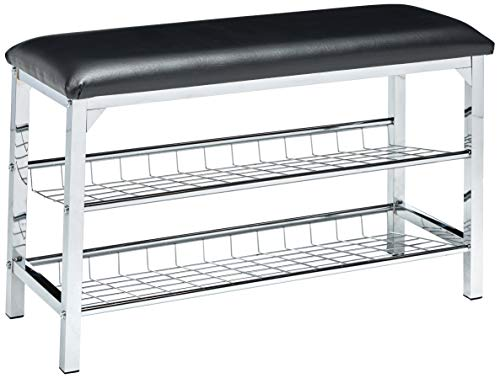 King's Brand Chrome/Black Vinyl Shoe Rack Organizer & Bench