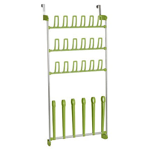 Household Essentials 2165-1 Over the Door Shoe and Boot Organizer - Space Saving Shoe Rack - Lime Green