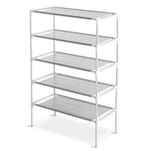 Decor Hut 5 Tier Shoe Rack Tower Space Saving Holds 25 Pairs of Shoes Neatly Organized (Grey)