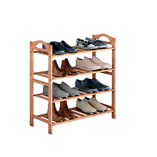 COSTWAY 4-Tier Bamboo Shoe Organizer Rack, Multifunctional Shoe Tower Storage Cabinet Utility Free Standing, Wood Shelf for Plant Flower Display, Stand Home Entryway Hallway Bathroom Furniture
