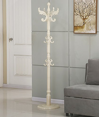Solid Wood Coat Hat Rack With Umbrella Stand Hangers Free Standing Clothing Hat Scarves Handbag Holder European,40183cm (Color : White)
