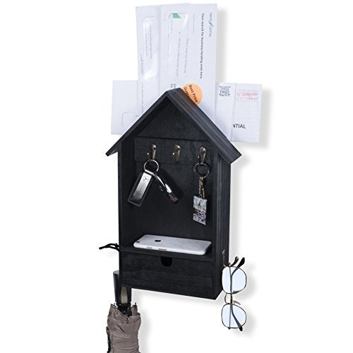 Entryway Décor Organizer Wall Mount Key Hook Mail Holder Drawer Storage Rack (Black)