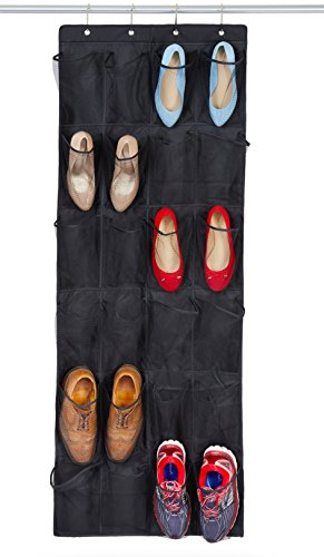 Bilpa Shoe Organizer, Over The Door Hanging Closet Rack | 24 Large Mesh Pockets Fit Up to Size 14 | Strong Metal Hooks | Sturdy Black Fabric Holder| Perfect Storage for Trainers, Boots, Sandals,
