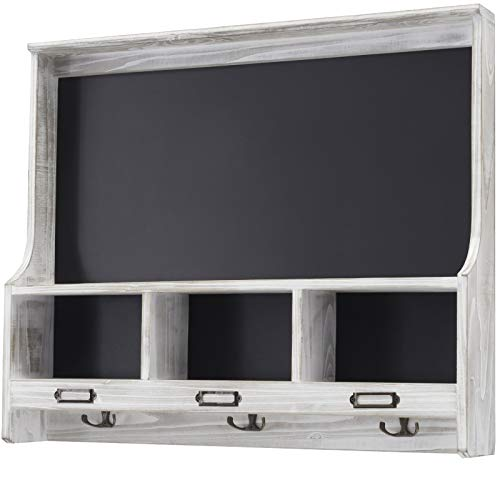 Grey Wooden Wall Mounted Hanging Entryway Shelf with Chalkboard with Chalkboard & 3 Double Hooks. 20