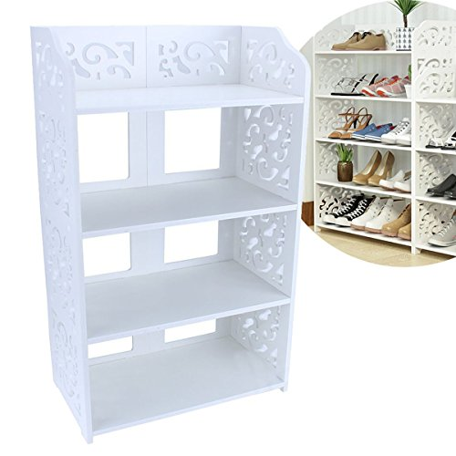 Estink 4-Tier Shoe Rack,Freestanding White Chic Hollow Out Shoe Tower Organizer Cabinet Shoe Closet Baroque Storage Organizer Stand Shelf Holder Unit Shelves,15.74