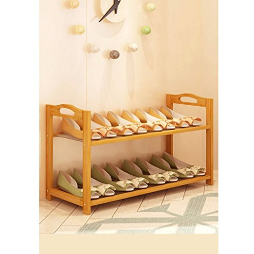 ZfgG Wooden Shoe Storage Rack Stand,2/3/4/5/6 Tier Shoe Rack Iron Frame Shelf,Organiser Holder 702633/50/70/90/108cm (Size : 2 Tier)