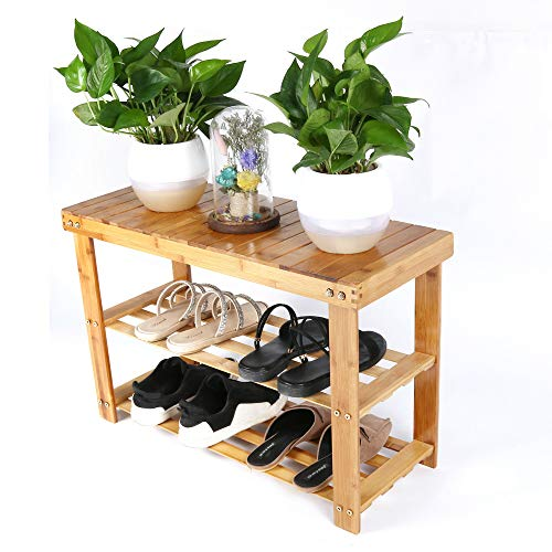 Voberry Natural Bamboo Shoe Bench 2-Tier Shoe Rack Organizer Entryway Storage Shelf 28 x 11 x 18 Inches L x W x H for Closet Bathroom Bedroom Balcony (Ship from US!!!) (Orange)