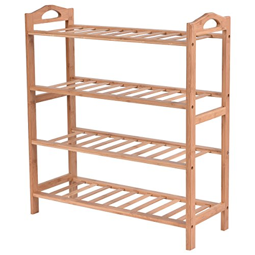 L-PH Shoe Storage Rustic 4 Tier Bamboo Shoe Rack Entryway Shoe Shelf Holder Storage Organizer Furniture