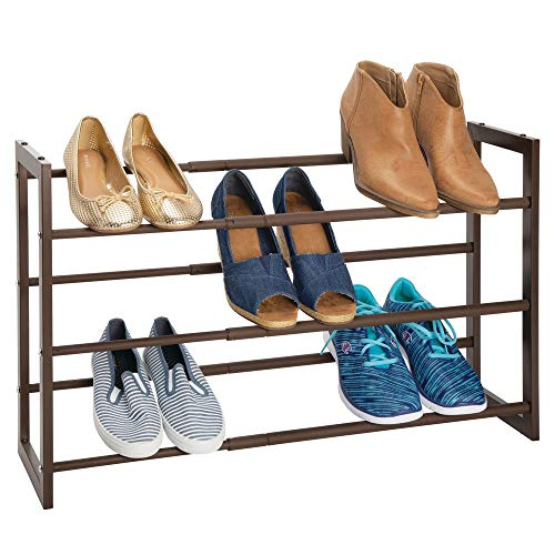 mDesign Metal 3 Tier Adjustable/Expandable Shoe and Boot Storage Organizer Rack - Space-Saving, Angled Vertical Storage - Closet, Entryway, Mudroom, Bedroom, Garage - Espresso Brown