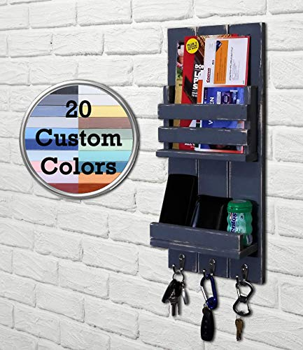 Sydney Vertical Mail Organizer, Key Holder & Shelf - Wall Organizer - Key Hook - Entryway Organizer - Rustic Wood - Slate Gray - 20 Colors