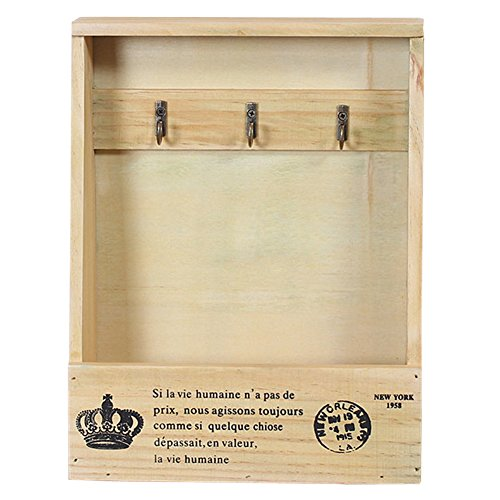 Olpchee Retro Wooden Wall Mounted & Tabletop Key Holder Rack Organizer Letter Mail Holder with 3 Key Hooks for Entryway Kitchen Office (Primary Color)