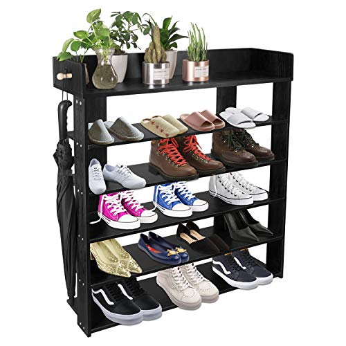 5-Tire Entryway Closet Shoe Rack Shoe Storage Cabinet Shelf (Black)