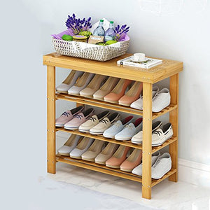 Shoe Racks Xiaomei Shoe Stool Racks, 3 Tier Bamboo Storage Organiser Holder, Made of 100% Natural Bamboo (Size : 702862)