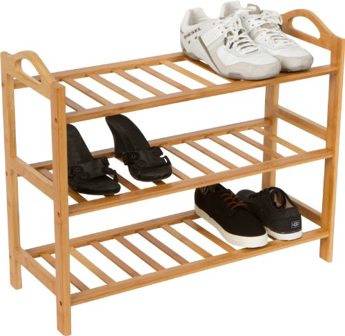 Trademark Innovations-3 Shelves-100-Percent Natural Bamboo Shoe Rack