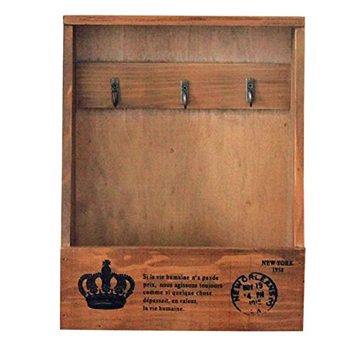 Olpchee Retro Wooden Wall Mounted & Tabletop Key Holder Rack Organizer Letter Mail Holder with 3 Key Hooks for Entryway Kitchen Office (Brown)