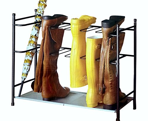 Boot & Shoe Organizer Storage Rack with Sturdy Space-Saving Stackable Steel Frame for 6-Pair (Bronze)