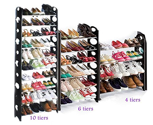 Oguine 30/50 Pairs Shoe Rack,Adjustable Portable Folding Shoe Tower Rack/Shoes Storage Organizer Rack for Space Saving(US Stock)
