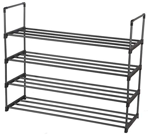 STORAGE MANIAC 4-Tier Shoe Rack Metal Shoe Tower 20-Pair Shoe Storage Organizer Unit Entryway Shelf Stackable Cabinet Durable Shelves, 35.43 W x 11.42 D x 29.13 H Inches