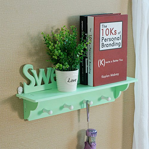 DayCount® Wood Wall Mount Shelf with Hooks, Sweet Home Clothes Hook Rack Key Storage Hanging Holders for Bedroom,Kitchen,Bathroom and Home Decoration (Green)